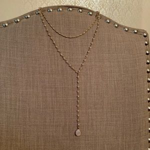 NWOT Beaded Double Chain Y Statement Necklace